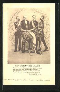 AK Nikolaus II. von Russland mit Kanone und Flagge, Le Serment des Allies, Propaganda Entente