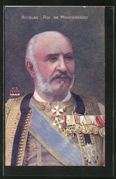 AK Montenegro, Nicolas mit Orden in Uniform im Portrait