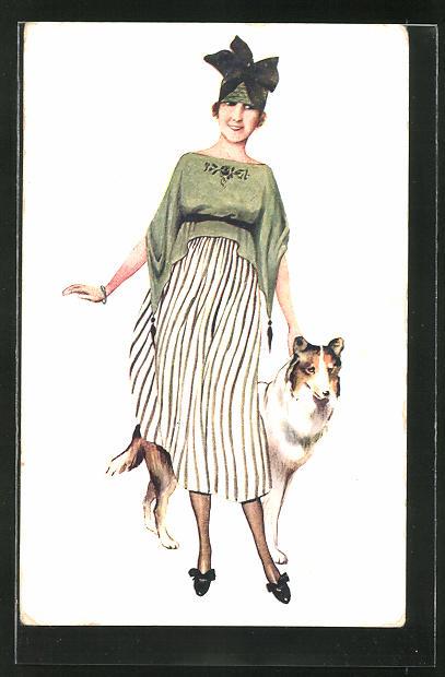 Künstler-AK Suzanne Meunier: hübsche Dame mit interessantem Hut und Hund
