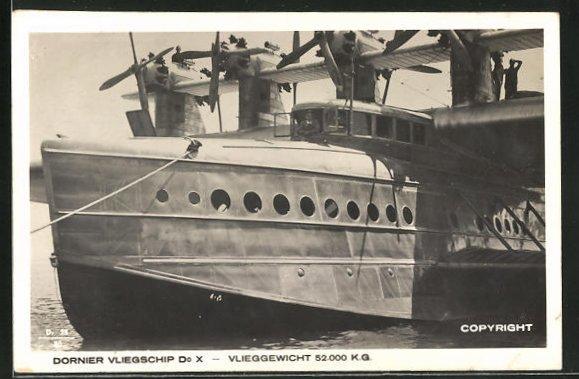 AK Wasserflugzeug Dornier Vliegschip vor dem Start