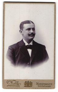 Fotografie C. Wolff, Neustrelitz, Portrait Mann mit Schnauzbart im Anzug mit Fliege