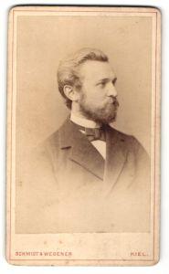 Fotografie Schmidt & Wegener, Kiel, Portrait Mann mit Vollbart im Anzug mit Fliege