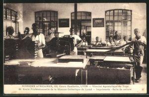 AK Lome, Missions Africaines, Ecole Professionnelle de la Mission Catholique, Imprimerie, Salle de reliure