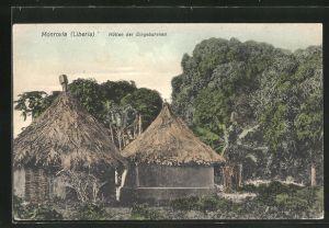 AK Monrovia, Hütten der Eingeborenen