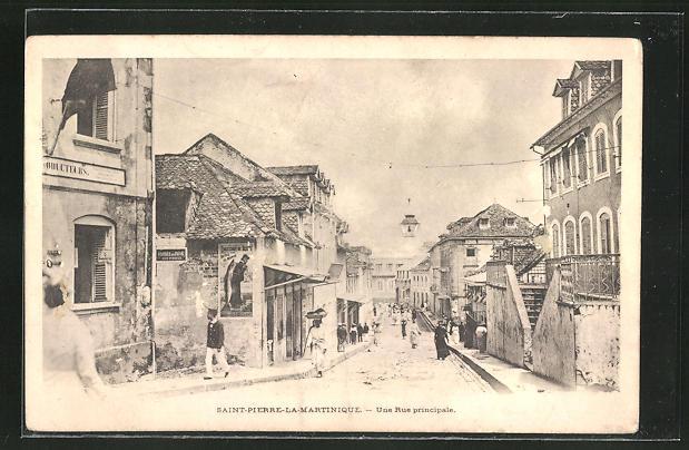 AK Saint-Pierre-La-Martinique, Une Rue principale, Strassenpartie