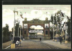 AK Lourenco Marques, Arco de triumpho na Avenida Aguiar, Avenida Aguiar showing the triumphal arch