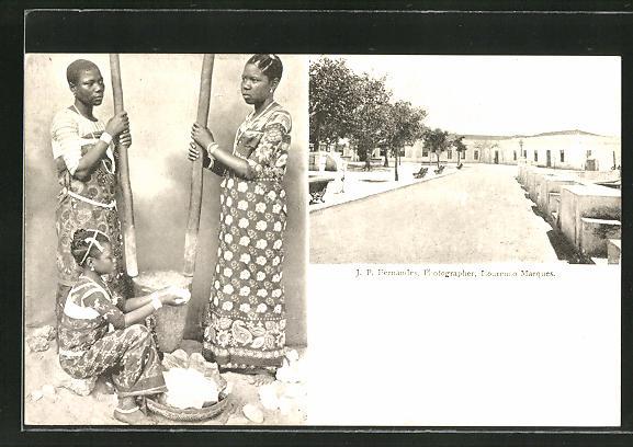 AK Lourenco Marques, Strassenansicht im Viertel, afrikanische Frauen am Mörser