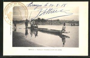 AK Bangui, Pecheurs Sanghos jetant une seine, Fischer auf dem Fluss