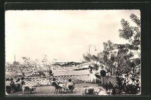 AK Niamey, Les Relais Aeriens, Terrasse mit Einheimischen