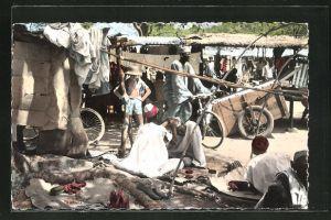 AK Bobo-Dioulasso, Coiffeur musulman au marche, Friseur auf dem Markt