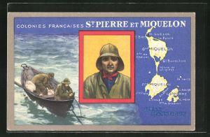 AK St. Pierre et Miquelon, Landkarte, Fischerboot