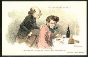 Künstler-AK sign. H. Daumier: Les Humoristes des Jadis - Mom cher ami..., Scherz