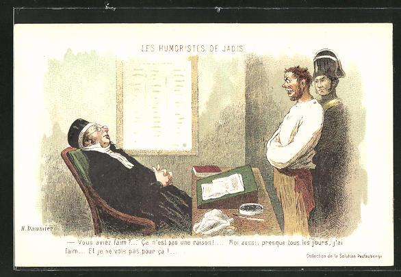 Künstler-AK sign. H. Daumier: Les Humoristes des Jadis - Vous aviez faim?..., Scherz