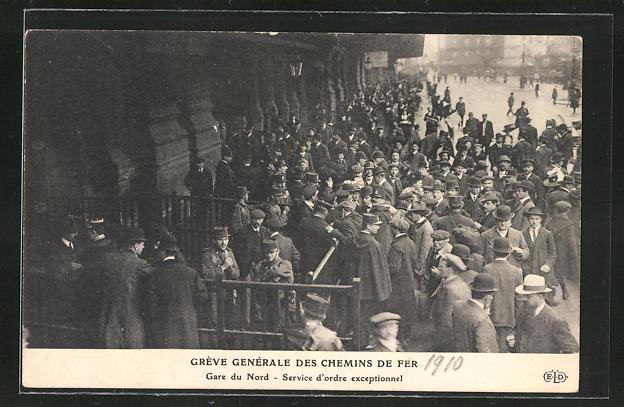 AK Grève Générale des Chemin de Fer, Gare du Nord, Service d'ordre exceptionel, Streik der französ. Eisenbahner