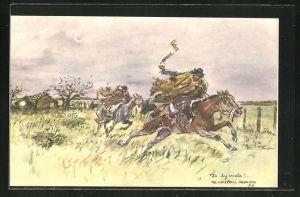 Künstler-AK sign. Enrique Castells Capurro: Zwei Männer reiten schnell auf ihren Pferden