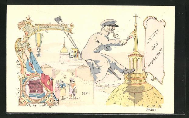 AK Paris, L'Hotel des Invalides, Kriegsveteran bemalt die Kirchspitze, Jugendstil