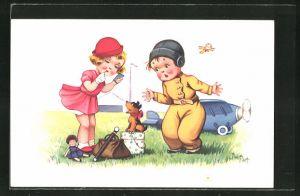 Künstler-AK sign. Jim Patt: Mädchen mit Hund und Puppe auf einem Flugplatz