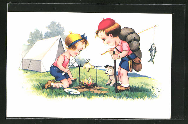 Künstler-AK sign. Jim Patt: Zwei Kinder vor einem Zelt beim grillen eines Vogels