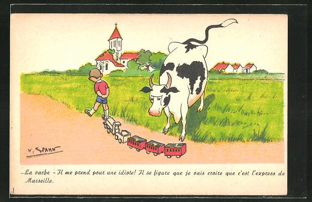 Künstler-AK sign. V.Spahn: Junge spaziert entlang einer Wiese vorbei an einer Kuh