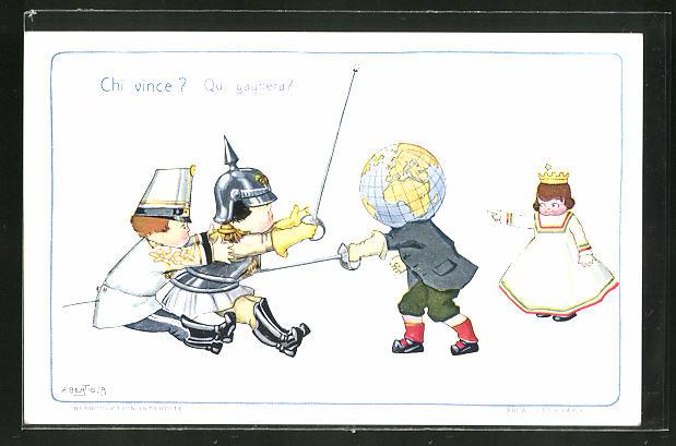 Künstler-AK A. Bertiglia: Zwei Soldaten werden von einem Mann mit Globus erstochen, Propaganda Entente