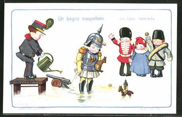 Künstler-AK A. Bertiglia: Kind als deutscher Soldat steht unbeholfen im Wasser