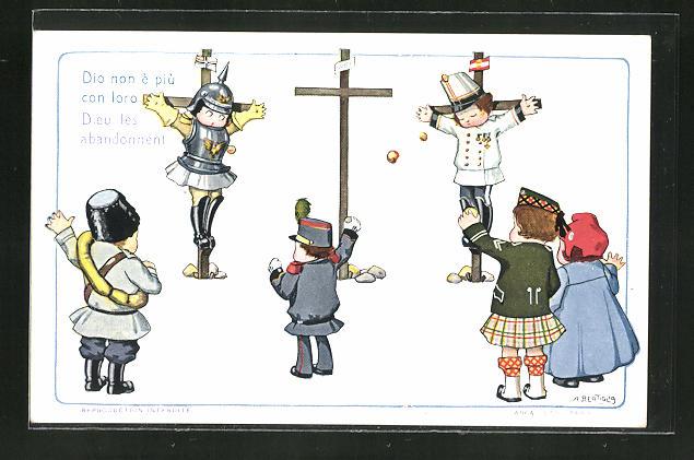 Künstler-AK A. Bertiglia: Gekreuzigte Soldaten werden mit Äpfeln beworfen, Propaganda Entente