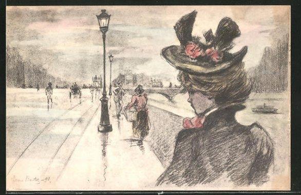 Künstler-AK Henri Boutet: Dame mit Hut beobachtet Passanten, Strassenpartie am Fluss im dunkeln