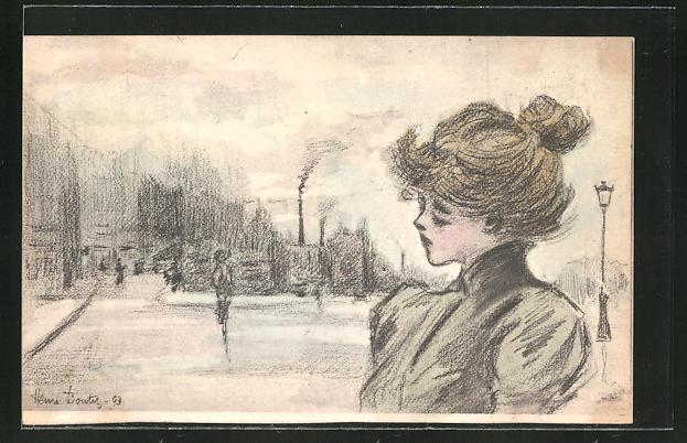 Künstler-AK Henri Boutet: traurig wirkende Frau im grünen Mantel steht an einer Strasse im dunkeln