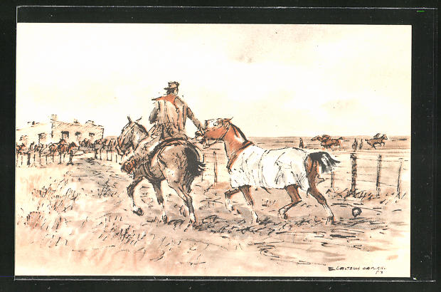 Künstler-AK sign. Enrique Castells Capurro: Reiter auf seinem Pferd hält ein anderes Pferd am Zügel fest