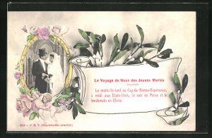 AK Le Voyage de Noce des Jeunes Maries, Hochzeitspaar im Schmuckrahmen, Mistelzweigen & Putten