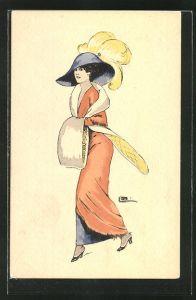 Künstler-AK sign. Leonnec: Elegante Dame mit Hut und Muff