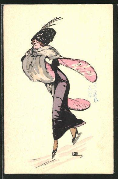 Künstler-AK sign. Leonnec: Elegante Dame auf Schlittschuhen