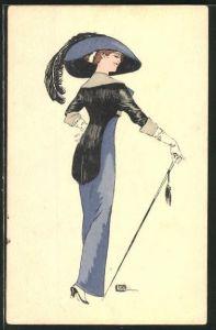Künstler-AK sign. Leonnec: Elegante Dame mit Hut und Spazierstock