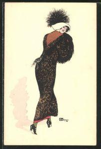 Künstler-AK sign. Leonnec: Elegante Dame im Winterkleid in Rückenansicht