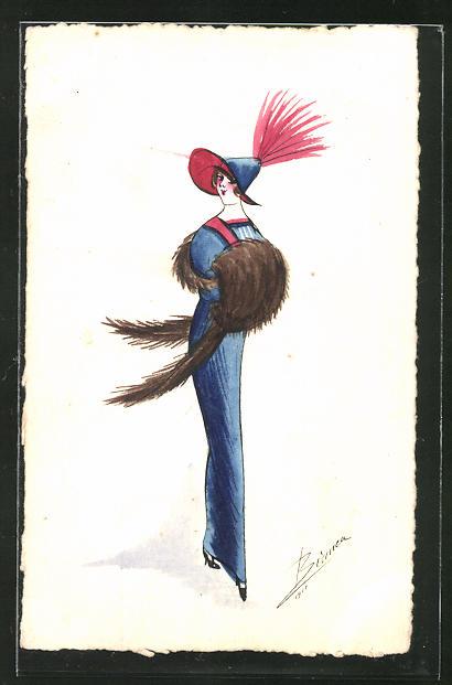 Künstler-AK Handgemalt: hübsche Frau mit Muff und elegantem Hut