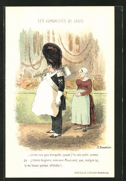 Künstler-AK sign. H. Daumier: les humoristes de Jadis, Soldat mit Beil in einer Fleischerei