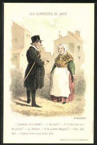 Künstler-AK sign. Daumier: les humoristes de Jadis, Mann unterhält sich mit Dame in Tracht