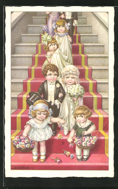 Künstler-AK A. Bertiglia: Brautpaar mit Blumenmädchen und Gästen auf einer Treppe