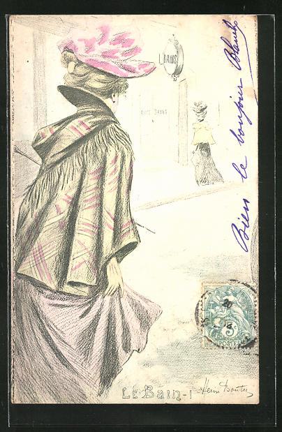 Künstler-AK Henri Boutet: Le Bain, hübsche Damen vor einem Geschäft