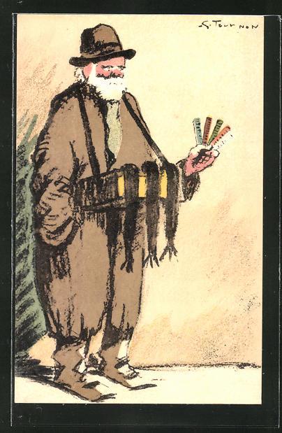 Künstler-AK sign. Georges Toutnon: älterer Strassenverkäufer mit Bauchladen