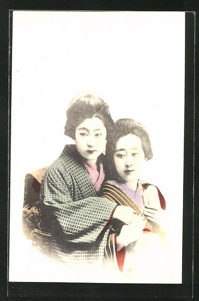 AK zwei wunderschöne Geishas im Portrait