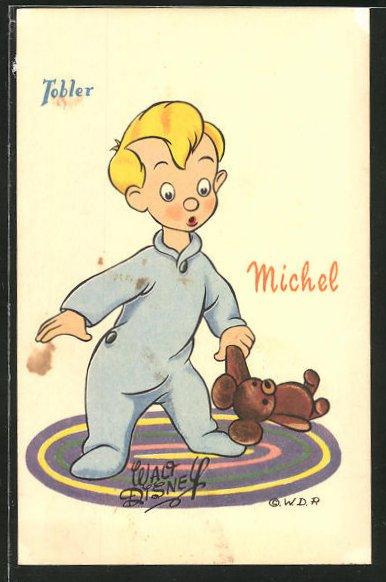 Künstler-AK Walt Disney's Michel mit Teddybären