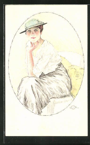 Künstler-AK Terzi: schöne junge Frau mit hübschem Hut im Portrait