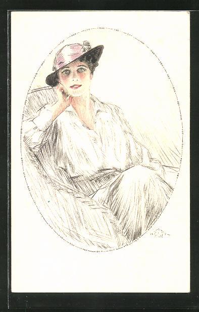 Künstler-AK Terzi: Portrait einer junge Frau mit schönem Hut