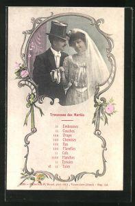 AK Trousseau des Maries, hübsches Brautpaar im Portrait