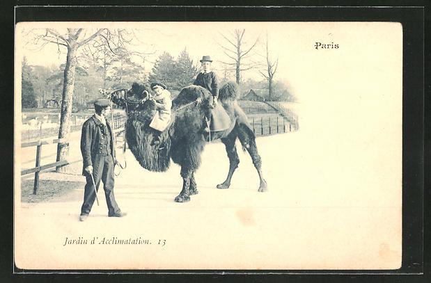 AK Paris, Jardin d'Acclimation, Kinder auf einem Kamel im Zoo