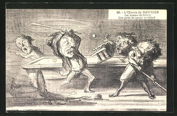 AK L'Oeuvre de Daumier, Les Joueurs de billard, Une partie de queues de billard, Scherz