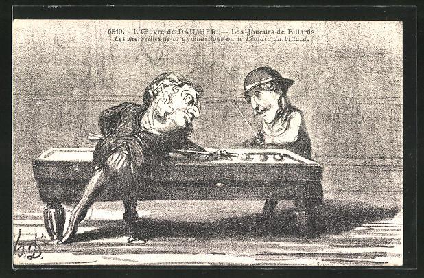 AK L'Oeuvre de Daumier, Les Joueurs de billard, Les merveilles de la gymnastique..., Billard, Scherz