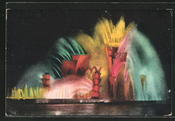 AK Le Theatre d'Eau, vue de nuit, Licht-und Farbenspiel, Art Deco