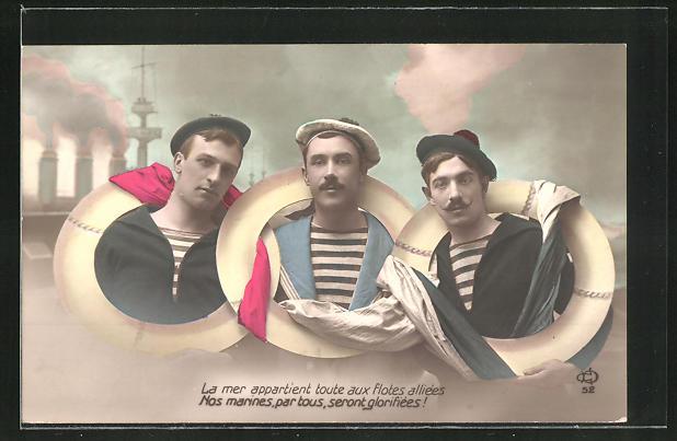 AK La mer appartient totes aux flotes alliées, Matrosen verschiender Länder, Propaganda